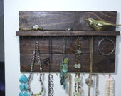 Jewelry Organizer Display Hanger Holder Shelf Honey Walnut Stain Handmade Rustic Ready to Ship
