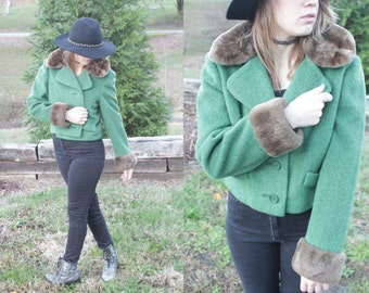 Vintage 1960s Wool Cropped Jacket with Fur collar and cuffs