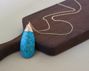 Turquoise Gemstone Necklace, Turquoise Pendant necklace, Turquoise drop necklace