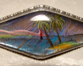 Sterling Silver Butterfly Wing Brooch 1930s 1940s Pin with Painted Scene