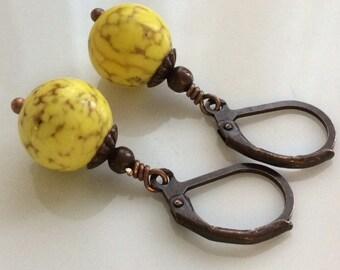 Yellow Earrings  Boho Earrings  Yellow Howlite Earrings  Yellow Stone Earrings  Bohemian Earrings  Gypsy Dangles