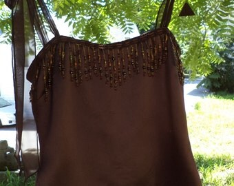 Brown Spaghetti Strap Top - Upcycled, Repurposed, Recycled Clothing - Size 12