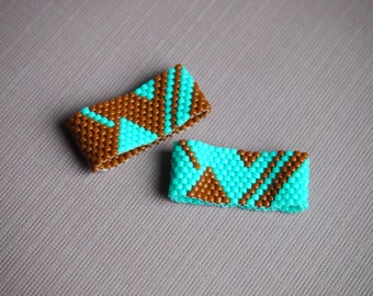 turquoise and terracotta abstract design seed bead peyote stitch ring in your choice of color scheme