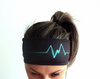 Yoga Headband Fitness Headband Workout Headband Running Boho Headband unique woman gift for her Heart Rate Black Headbands Y19