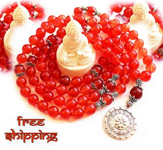 Japa Mala Hand Knotted 108 Gemstone Carnelian 10mm Beads Prayer Yoga Necklace for Meditation and Mantra - Free Shipping