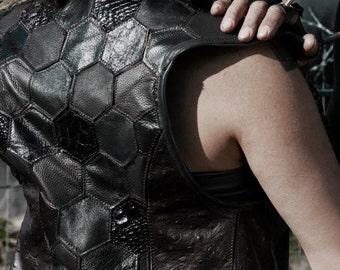 Women's Hexagon Geometry Upcycled Leather Apocalyptic Vest