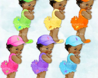 Ruffle Pants Pony   Rainbow of Colors African American Skin Tone   Vintage Baby Girl   Clipart Instant Download