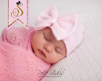Baby girl hospital hat, Newborn girl hospital hat with bow, Coming home baby girl, Newborn girl hospital hat