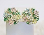 Mid Century Pastel Enamel Flowers Screw Back Earrings, Clear Rhinestone Centers, Green Leaves