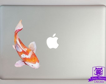 Orange and White Watercolor Koi Fish Macbook Laptop Decal Full Color