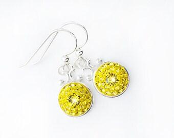 Sparkly Yellow Swarovski Crystal Dangle Earrings