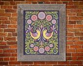 Floral Botanical Bird Folk Art Wycinanki Style Flower Print Hostess or Housewarming Gift 8 x 10 or 11 x 14