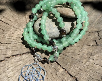 SEED OF LIFE Green Aventurine Mala Beads   108 Bead Mala for Heart Chakra, Sacred Geometry   Yoga Meditation Beads, Prayer Beads, Mayan Rose