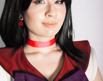 Sailor Mars Cosplay Metal Tiara - Smooth or Faceted Red Gem with Black Elastic