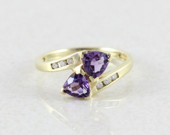10k Yellow Gold Amethyst Ring Amethyst and Diamond Ring Size 5