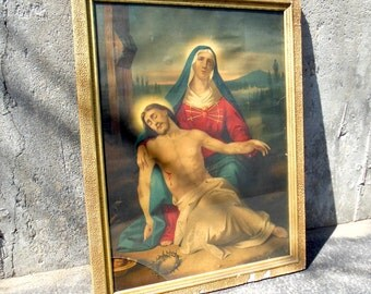 Kitsch Jesus And Mary Religious Lithograph Crucifixion Scene
