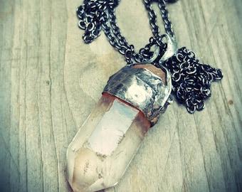 Raw crystal quartz Wabi sabi necklace Handmade necklace One of a kind Handmade jewelry