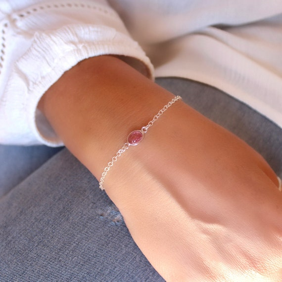 Minimalist pink tourmaline bracelet in sterling silver October birthstone Dainty bracelet with pink gemstone Silver chain bracelet