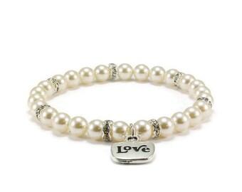 SALE Pearl Stretch Bracelet with Love Charm