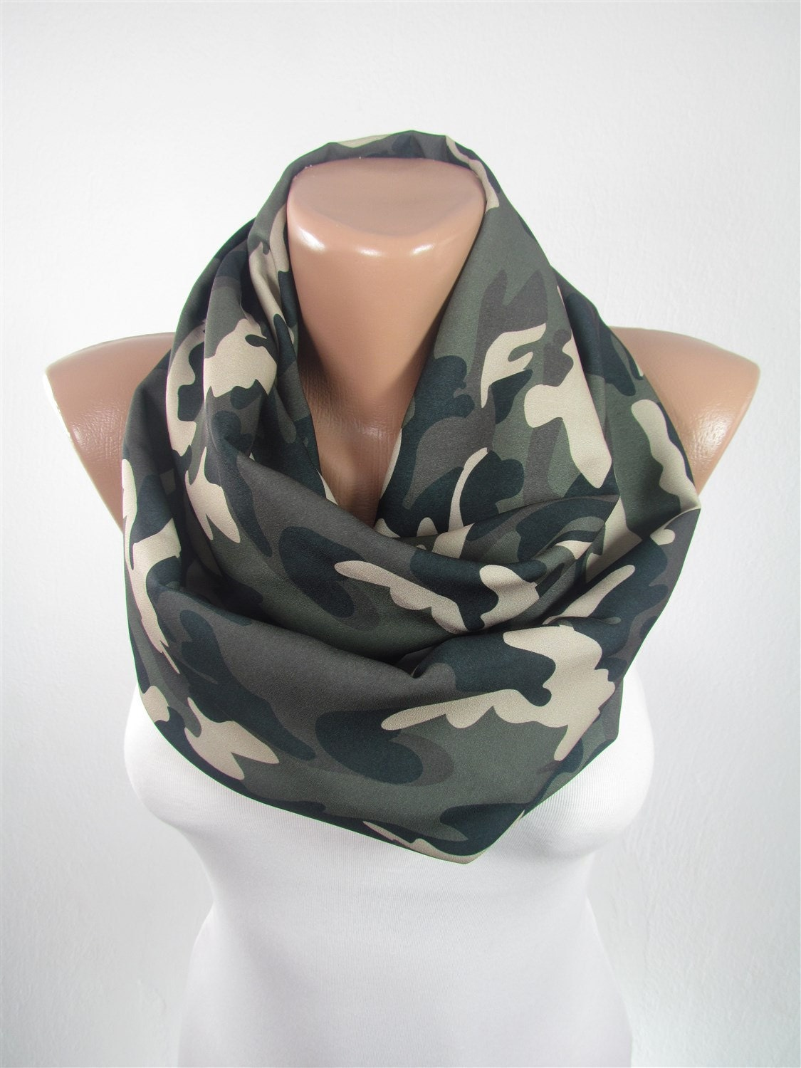 Camo Scarf Infinity Scarf Camouflage Scarf Military Scarf Fall