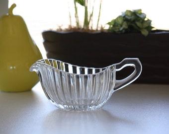 Vintage Glass Gravy Boat -- Glass Gravy Boat -- Vintage Glass Kitchenware