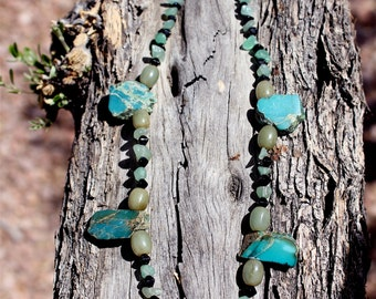 Tibetan Turquoise Statement Necklace, Healing Energy Jewelry, Chinese Turquoise Jade Onyx, Bead Necklace, Healing Stones, MegaLith Necklace
