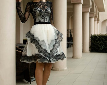 Black and white wedding dress, Short bridal dress with lace, Sleeved lace wedding dress, French wedding dress with sleeves from Alencon lace