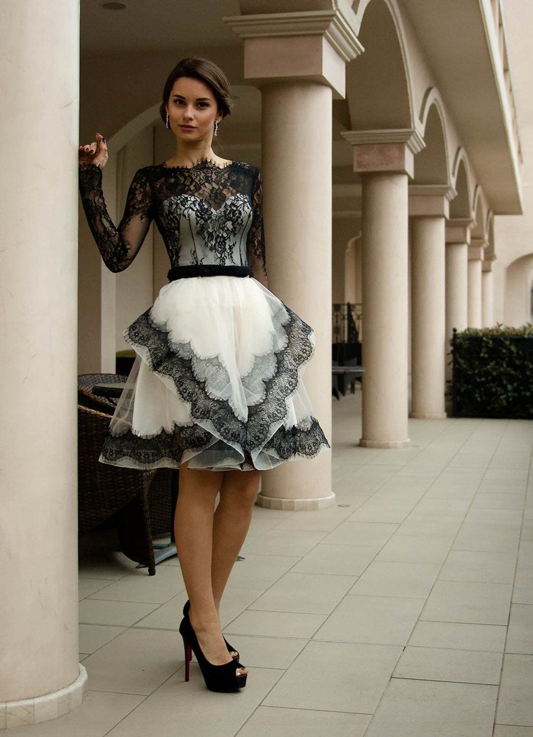 Black and white wedding dress Short bridal dress with lace
