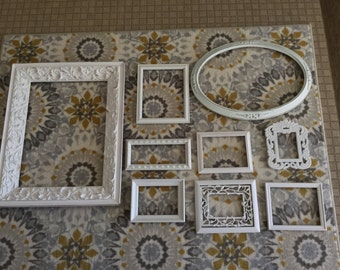 Set of White Frames Set of Eight (8) Nordic  Cottage Chic,  Rococo Style -- Use for New Project or Collages!