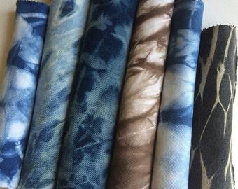 Denim Shibori Fabric, Scrap Pack