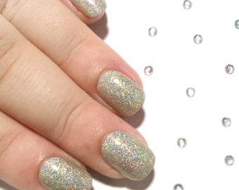Petite Nails - Fake Nails - Press On Nails - Extra Small Size Acrylic Nails - Glue On False Nails - Gold Glitter Nails - Holographic Nails