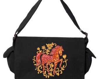 Bohemian Woods - Horse Embroidered Canvas Cotton Messenger Bag