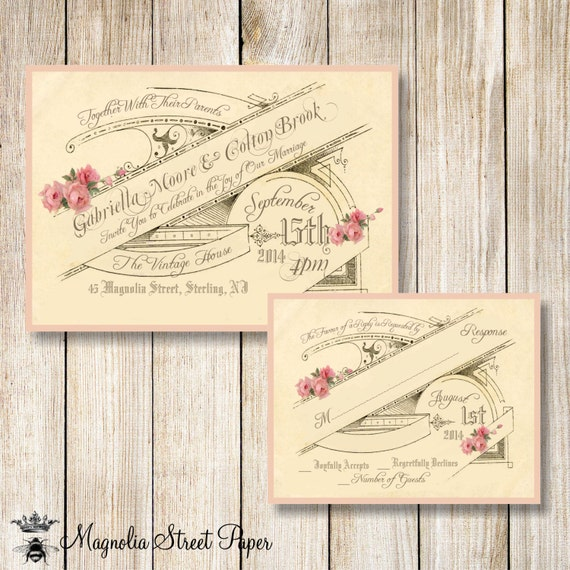 French Vintage Wedding Invitations: Vintage Wedding Invitation French Wedding Invite Vintage