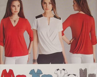 Simplicity S0284. Knit top sewing pattern. Sizes 6-14. Pattern is uncut and factory folded.