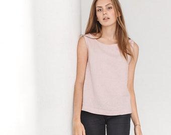 Basic linen top / Linen tank top / Linen blouse / Dusty pink linen top / #18