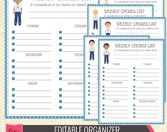 Editable PDF Chore Chart for Boy, Blue Weekly Chore List // Kid Chore Chart // Boy Chore Chart - Organizer110