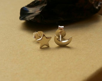 Small Sterling Silver Star and Moon Simple Post Earrings, Moon and Star Celestial Earrings, Star and Moon Stud Earrings, Astronomy Earrings