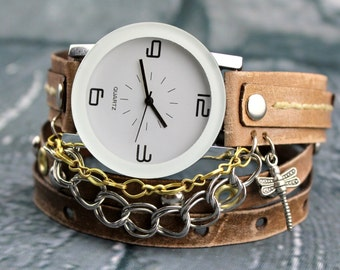 Dragonfly Leather Watch, Brown Women's Wrist Watch, Leather Wrap Watch with Chains, Anniversary gift, Leather gift for her