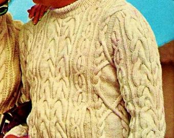 Men's Fisherman Cable Sweater Vintage Knitting Pattern Download