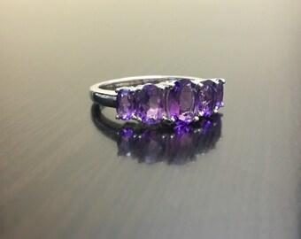 14k white gold amethyst engagement ring 14k gold amethyst wedding ring 14k gold five - Amethyst Wedding Rings