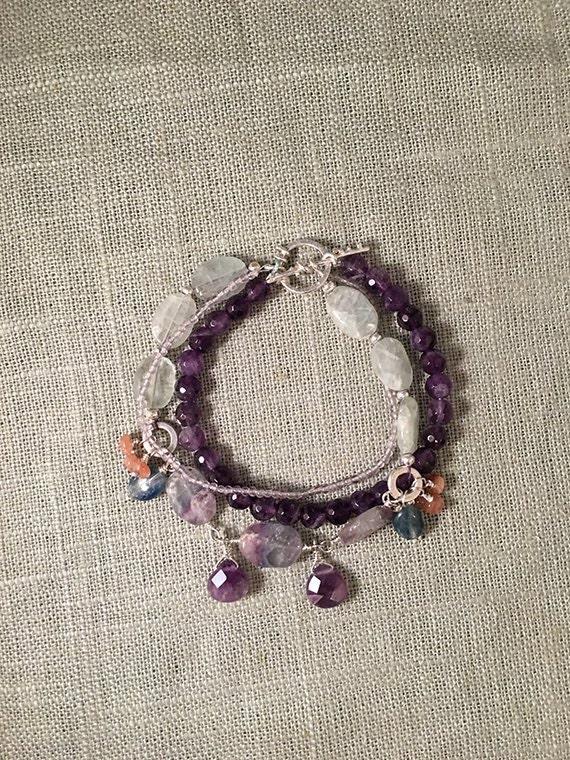 Amethyst Bracelet, Multi Strand Amethyst and Silver Bracelet, Handcrafted Jewelry