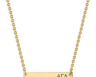Alpha Gamma Delta Sorority Bar Necklace / Alpha Gamma Delta Necklace / Sorority Necklace / Sorority Gift / Big Little Gift / AGD Jewelry