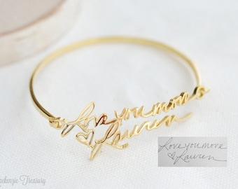 Handwriting Bracelet - Custom Actual Handwriting Jewelry - Personalized Bracelet - Memorial Bracelet - Wedding Gift - Bridesmaid Gift