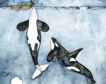 "Watercolor Orca and Girl Painting - Print titled, ""Poseidon's Touch"", Orca Whale, Beach Decor, Whale Nursery, Whale Art, Whale Print, Orcas"