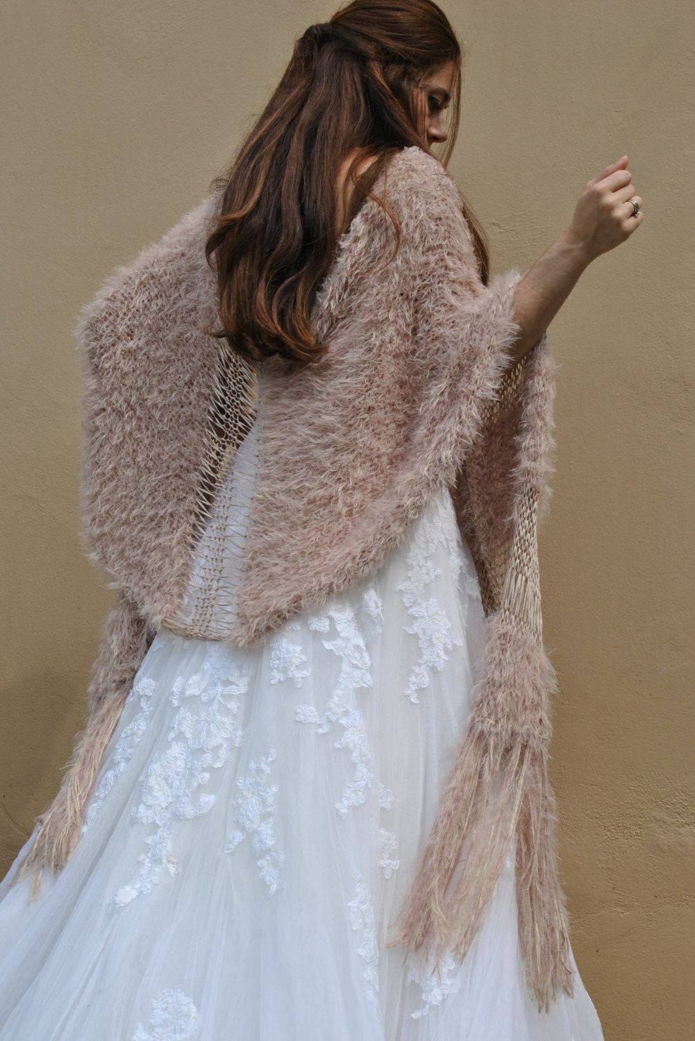 White Fur Stole >> Champagne pink shawl formal faux fur lace shawl hand knit
