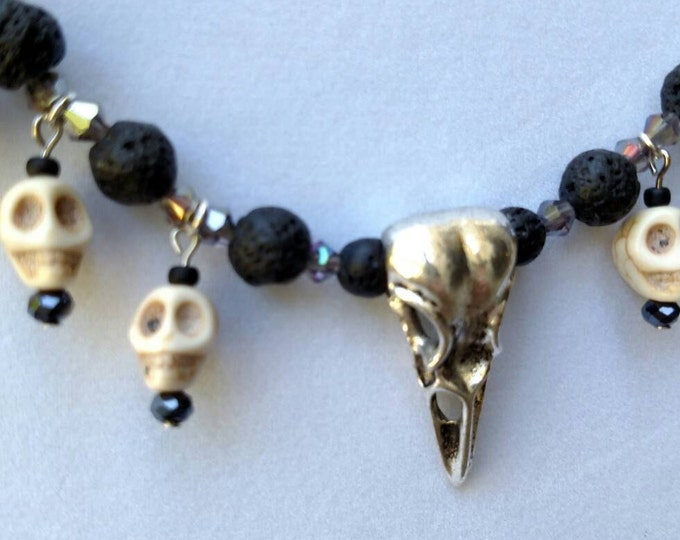 Featured listing image: Custom Designed Crow Skull Necklace,Crow Skull Necklace. Day of the Dead Skull Necklace, Crow Skull