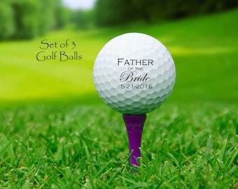 Set of 3 Custom UV Printed Golf Balls - Father of the Bride Gift, Personalized Golf Balls, Wedding Giveaway, Souvenir wedding, wedding