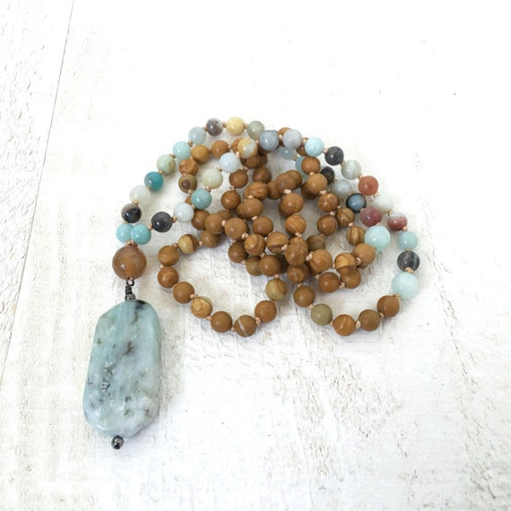 Jasper and Amazonite Mala Beads, Amazonite Pendant Mala Beads, Natural Stone Mala Necklacee, Yoga Mala Beads, Beaded Mala Necklace,