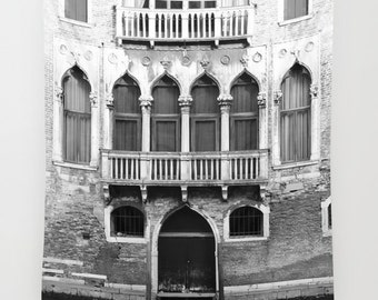 Venice Wall Tapestry, Italy Photography, Venice Print, Vertical, Black and White, Italy Wall Decor, Extra Large Wall Art, Vertical Art