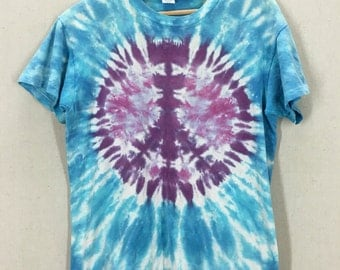 Vintage 70s 80s Tie Dye Peace Sign Double Sided Hippie TShirt